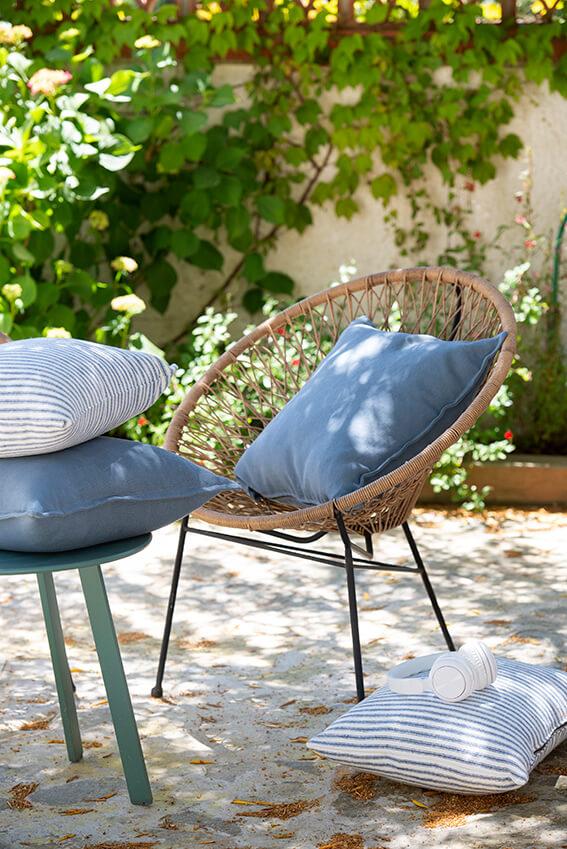 Textil hogar en azul mediterráneo y raya marinera