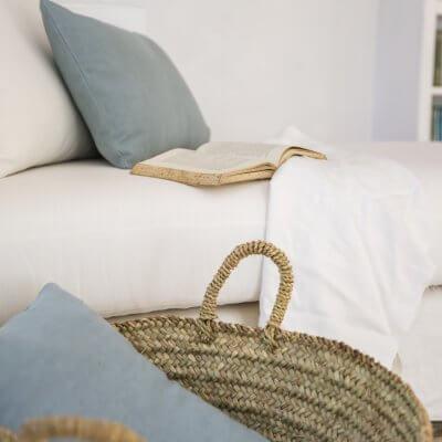 Cojín lino turquesa