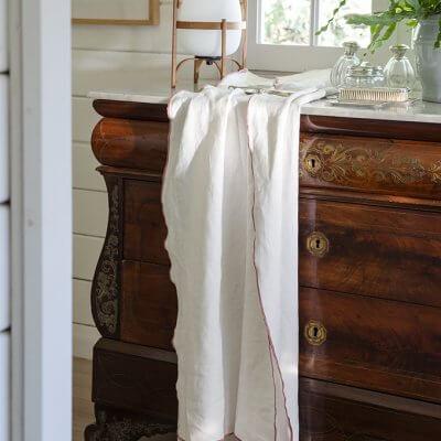 plaid blanco de lino