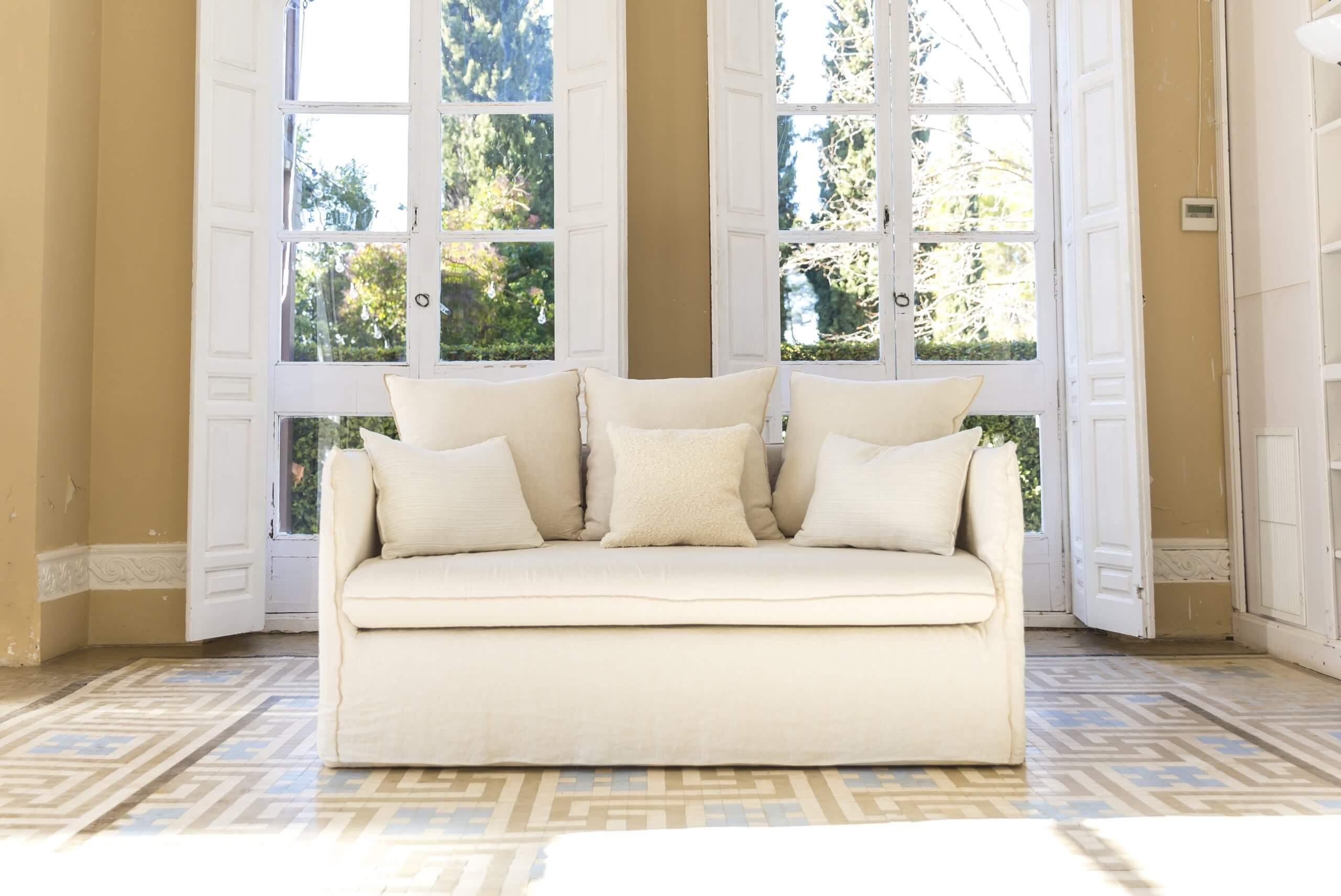 Sofa de lino en beige