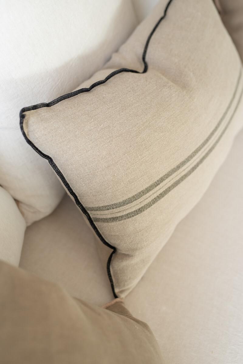 Cojín decorativo raya lino